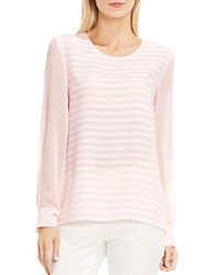 Vince Camuto Petite Roundneck Sheer Sleeve Ribbon Striped Blouse Pale Dahli