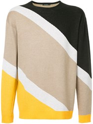 Guild Prime Striped Colour Block Sweater Brown