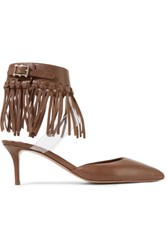 Valentino Fringed Textured Leather And Pvc Pumps Brown