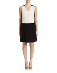 Nydj Colorblock Drop Waist Dress Optic White Black