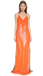 Kaufman Franco Sleeveless Sequin Gown Orange Heather