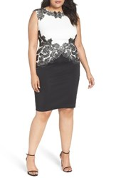 Tadashi Shoji Plus Size Women's Feather Neoprene Sheath Dress