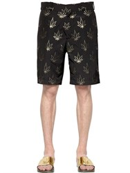 Palm Angels Lurex Marijuana Leaves Cotton Shorts