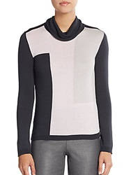 Les Copains Geo Blocked Turtleneck Sweater Smoke