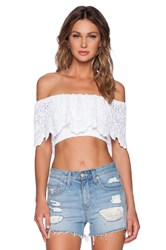 Nightcap Spanish Lace Crop Top White