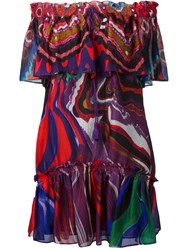 Roberto Cavalli Abstract Print Off Shoulders Dress