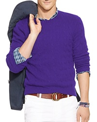 Polo Ralph Lauren Cable Knit Cashmere Sweater Violet Heather