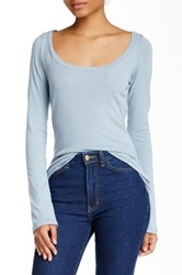 American Apparel Long Sleeve Scoop Neck Tee Blue