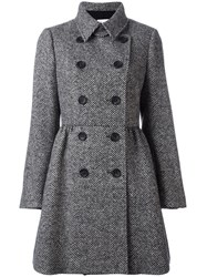 Red Valentino Herringbone Double Breasted Coat Black