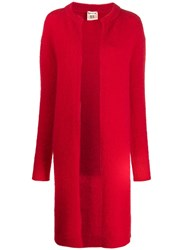 Semicouture Open Front Long Cardi Coat Red