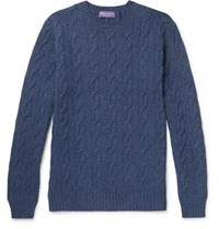Ralph Lauren Purple Label Cable Knit Cashmere Sweater Navy