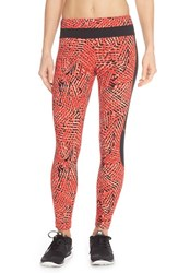 Women's Lole 'Eden' Mesh Inset Leggings Ruby Foliage