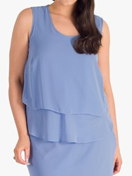 Chesca Round Neck Sleeveless Wrap Top Bluebell