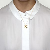 Origami Jewellery Mini Swallow Necklace Gold