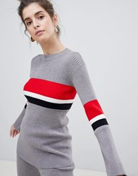 Neon Rose Jumper With Block Stripe Co Ord Grey