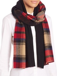 Standard Form Tartan Cashmere And Wool Blanket Scarf Red Multi