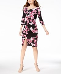 Inc International Concepts I.N.C. Petite Printed Ruched Midi Dress Created For Macy's Black
