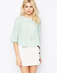 Girls On Film Cropped Top With Embroidered Detail Aqua Blue