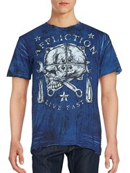 Affliction Cotton Printed Tee Navy
