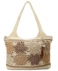 The Sak Casual Classic Crochet Medium Tote Natural Floral Patch