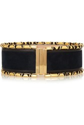 Balmain Embellished Suede And Leather Waist Belt Midnight Blue