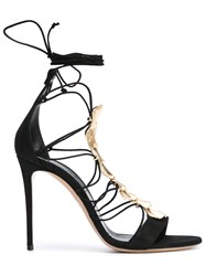 Casadei Metallic Detail Lace Up Sandals Women Leather Nappa Leather Brass Kid Leather 40 Black