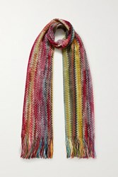 Missoni Fringed Crochet Knit Scarf Red