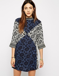 Native Rose Shift Dress In Patchwork Print Multi