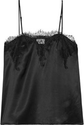 Cami Nyc Sweetheart Lace Trimmed Silk Charmeuse Camisole Black