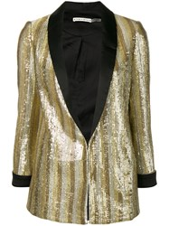 Alice Olivia Embellished Fitted Blazer Gold