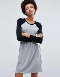 Daisy Street Baseball Sleeve Skater Dress Grey