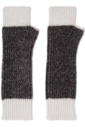 Duffy Two Tone Merino Wool Blend Fingerless Gloves Black