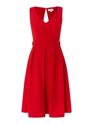 Untold V Neck Fit And Flare Dress Red