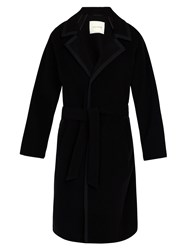 Mackintosh Wool Blend Herringbone Belted Overcoat Black