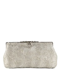 Zoe Adams Vintage Style Beaded Clutch Silver