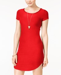 Planet Gold Juniors' Bodycon T Shirt Dress Red