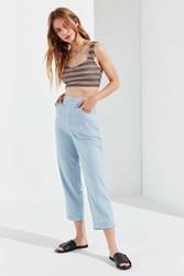 Urban Outfitters Uo Grace Linen Cropped Pant Blue
