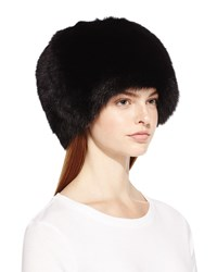 Surell Fox Fur Bubble Hat Black