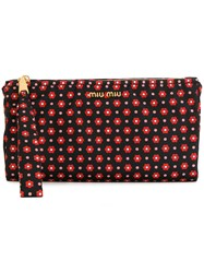 Miu Miu Floral Patterned Wallet Cotton