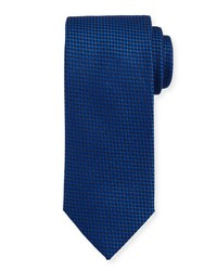 Brioni Textured Check Silk Tie Blue