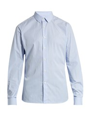Valentino Button Cuff Striped Cotton Poplin Shirt Blue Multi