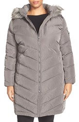 Plus Size Women's Calvin Klein Down And Feather Fill Coat With Faux Fur Titanium