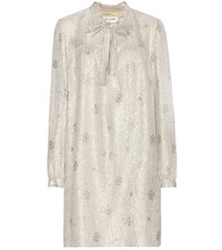 Saint Laurent Metallic Silk Blend Jacquard Dress