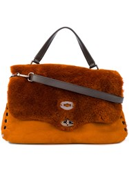Zanellato Faux Fur Flap Tote Women Artificial Fur Leather One Size Yellow Orange