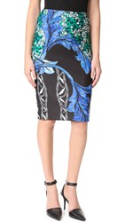 Yigal Azrouel Printed Scuba Skirt Jet Multi
