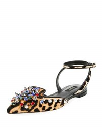 Dolce And Gabbana Jeweled Calf Hair Ankle Wrap Flat Leopard