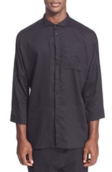 Men's Chapter 'Singer' Trim Fit Crop Sleeve Cotton And Linen Shirt