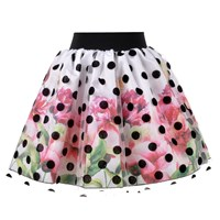 Love Made Love Floral Skirt With Polka Dot Tulle White
