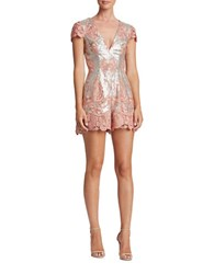 Dress The Population Sabrina Lace And Sequin Romper Pink Matte
