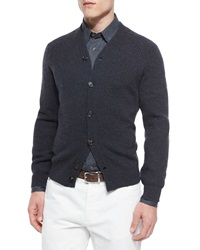 Brunello Cucinelli Ribbed Cashmere Cardigan Dark Gray